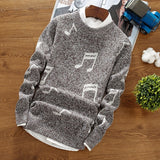 Men's autumn and winter new sweater, personalized print pullover, trend round neck wild knit bottoming shirt