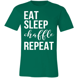 Eat Sleep Chaffle Repeat - White Text Unisex Shirt
