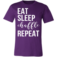 Load image into Gallery viewer, Eat Sleep Chaffle Repeat - White Text Unisex Shirt