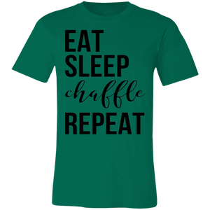 Eat Sleep Chaffle Repeat - Black Text Unisex Shirt