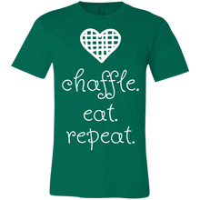 Load image into Gallery viewer, Chaffle Eat Repeat - White Text Unisex Shirt
