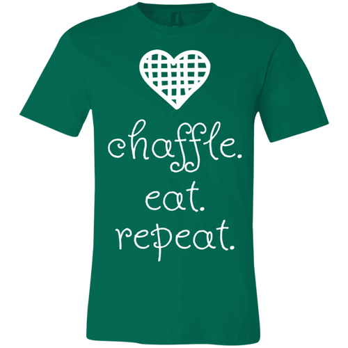 Chaffle Eat Repeat - White Text Unisex Shirt
