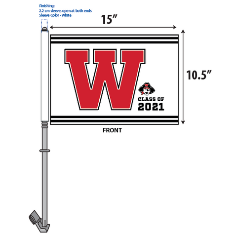 WHS Graduation Parade Car Flags – W