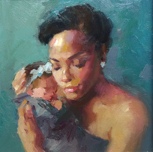 Painting of mother holding a child