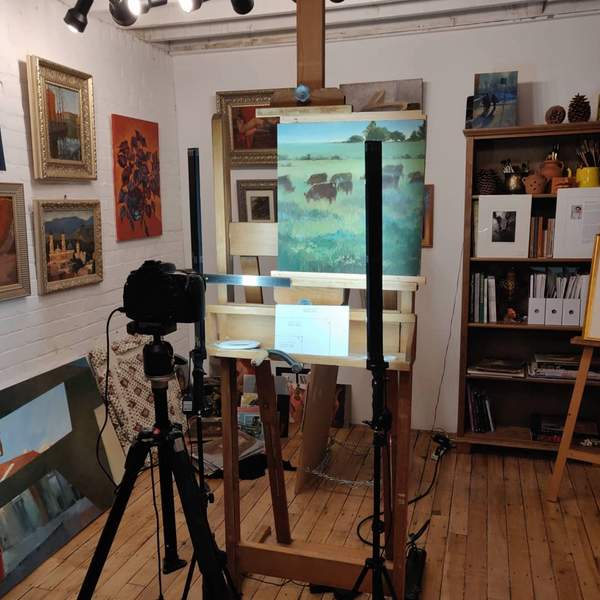 Photographing oil paintings in the studio