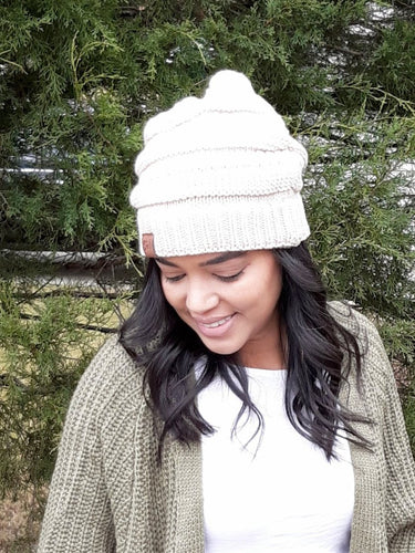 SNOW BUNNY WINTER HAT- OATMEAL