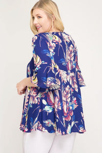 AMELIA TROPICAL PRINT BLOUSE