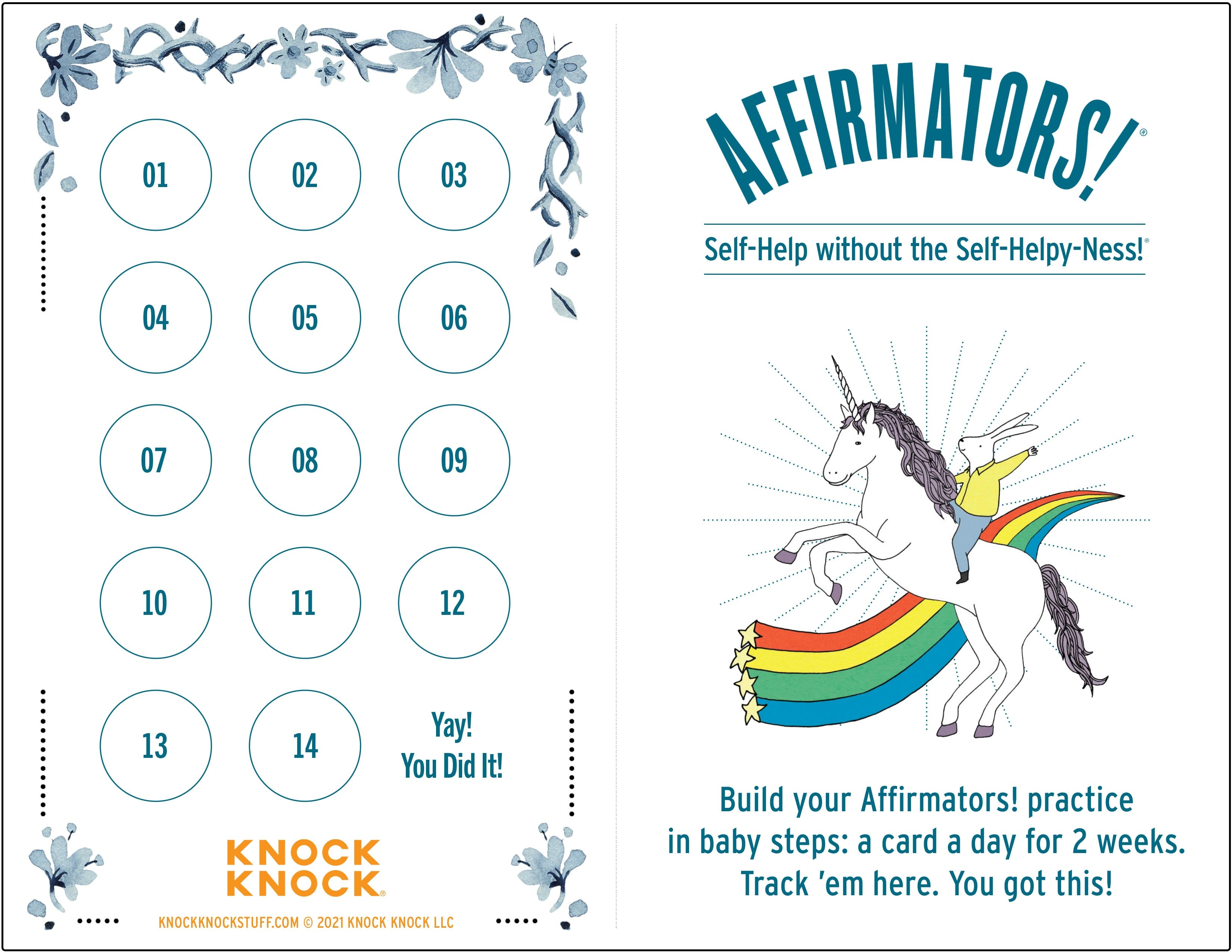 Daily Affirmations Tracking Grid for Your Affirmators Affirmation Cards