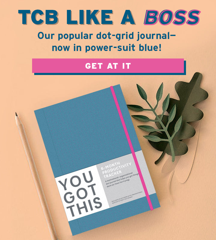 TCB LIKE A BOSS Our popular dot-grid journal- now in power-suit blue!