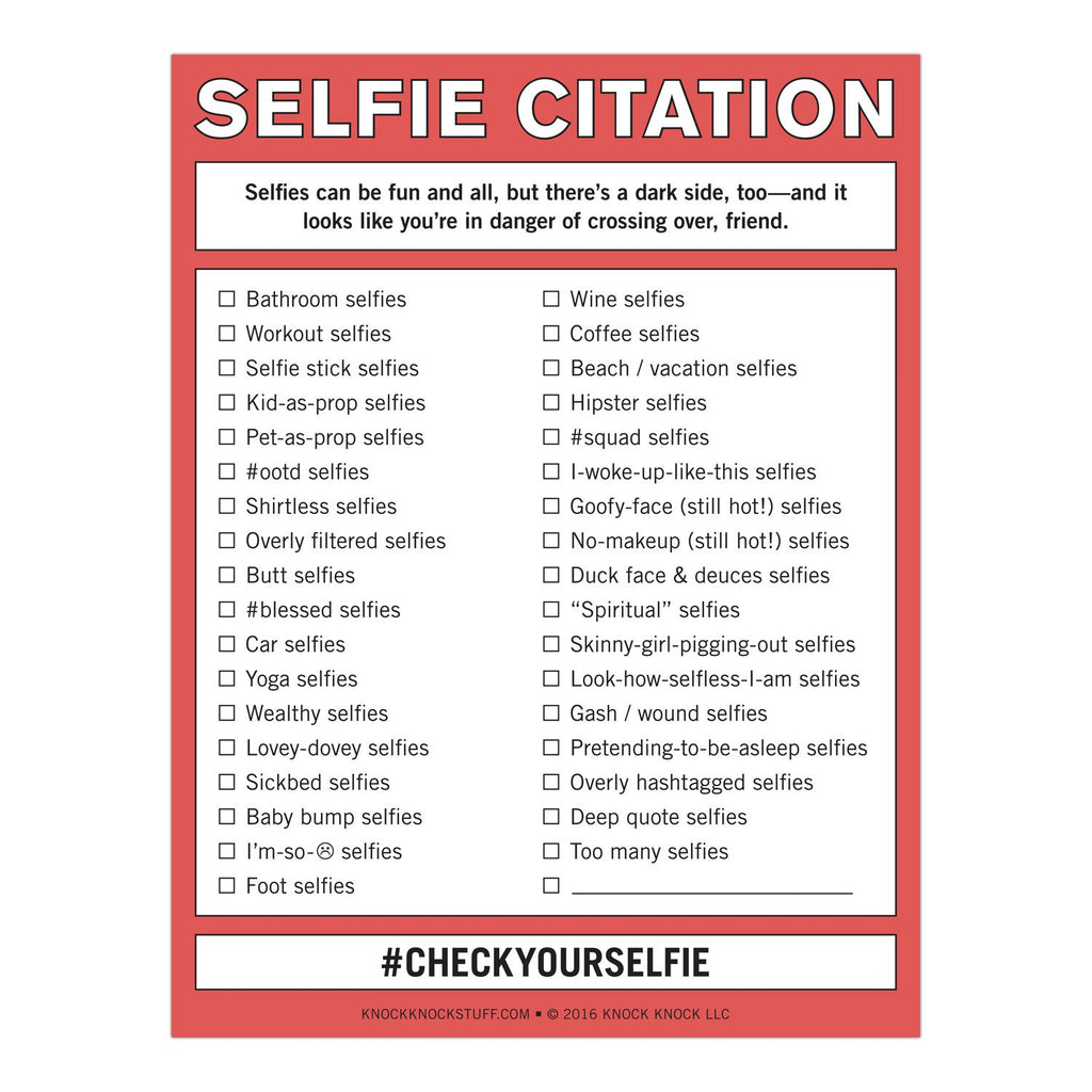 Knock Knock Selfie Citation Nifty Notepads Knockknockstuff Com
