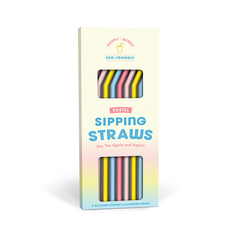 Knock Knock Pastel Silicone Straws (Set of 8)