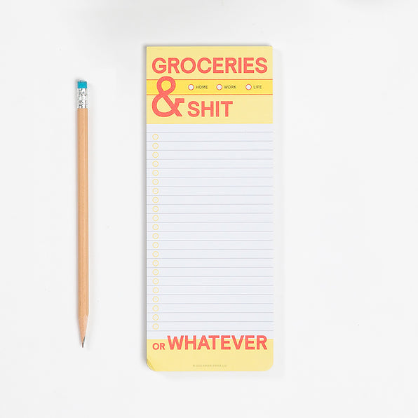 Groceries and Shit Make-a-List Pad