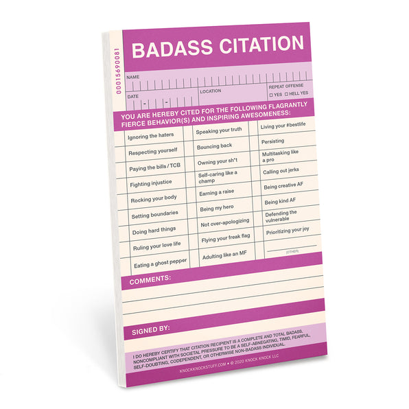 Knock Knock Badass Sticky Citation Pad