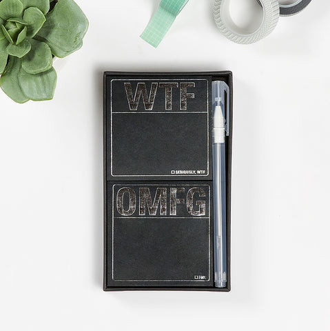 WTF / OMFG Metallic Sticky Note Set + Gel Pen