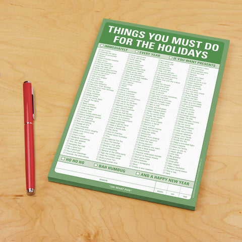 Knock Knock Things You Must Do for the Holidays Notepad