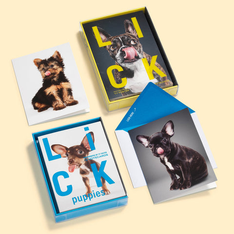 Knock Knock Lick Puppies and Dogs Notecards