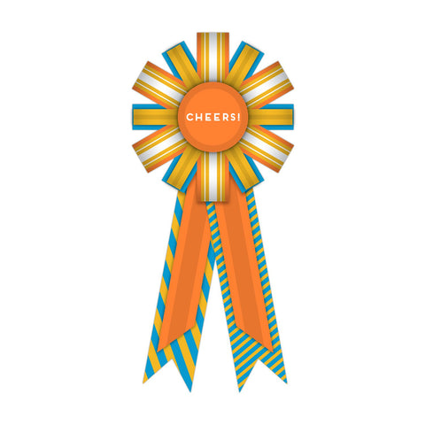 Cheers! Happy Birthday Personal Paper Award Ribbon