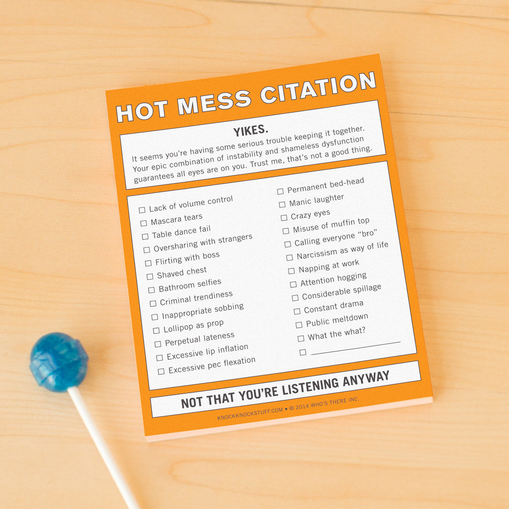 Knock Knock Hot Mess Citation Notepad | KnockKnockStuff com