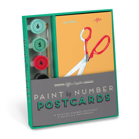 Knock Knock Office Supplies Paint-by-Number Postcards Kit