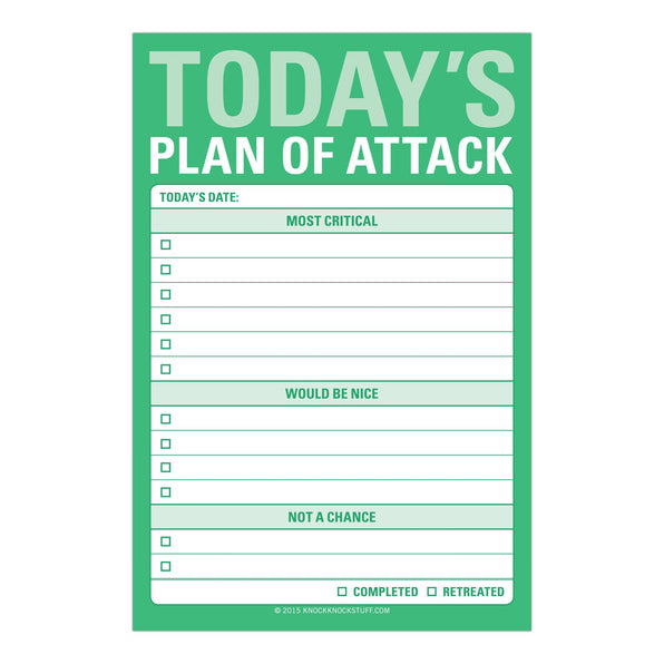 Knock Knock Today's Plan of Attack Great Big Stickies