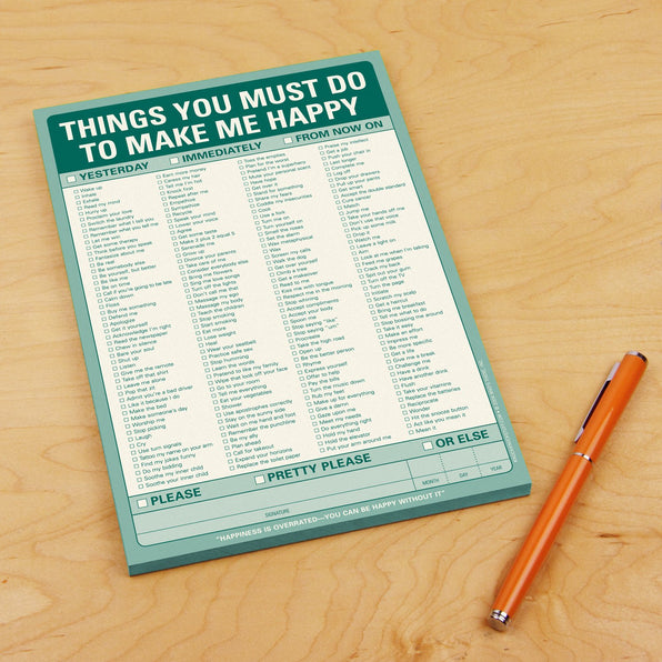 Knock Knock Things You Must Do to Make Me Happy Notepad