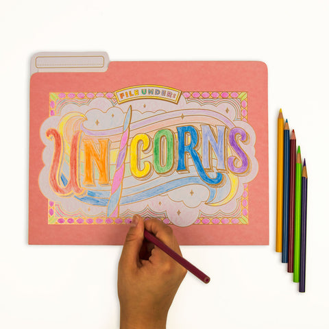 Coloring File Folders by Knock Knock | Unicorn Desk Accessories