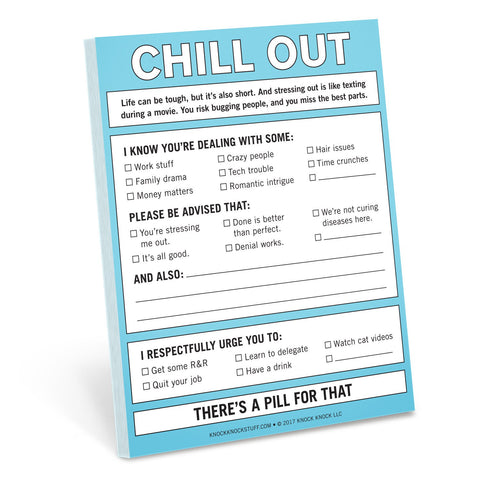 Knock Knock Chill Out Nifty Notepad