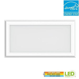 1 ft. x 2 ft. 24-Watt Dimmable White Integrated LED Edge-Lit Deco Panel Ceiling Flushmount Light with Color Changing Damaged Box-bay & strip lights-Tool Mart Inc.