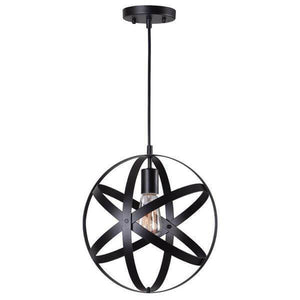 1-Light Black Orb Mini Pendant with Black Metal Strap Design Damaged Box-bay & strip lights-Tool Mart Inc.
