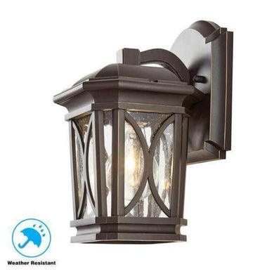 1-Light Bronze with Brass Highlights Outdoor 5.75 in. Wall Mount Lantern with Seedy Glass Damaged Box-outdoor lighting-Tool Mart Inc.