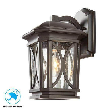 1-Light Bronze with Brass Highlights Outdoor 7 in. Wall Mount Lantern with Clear Seedy Glass Damaged Box-outdoor lighting-Tool Mart Inc.