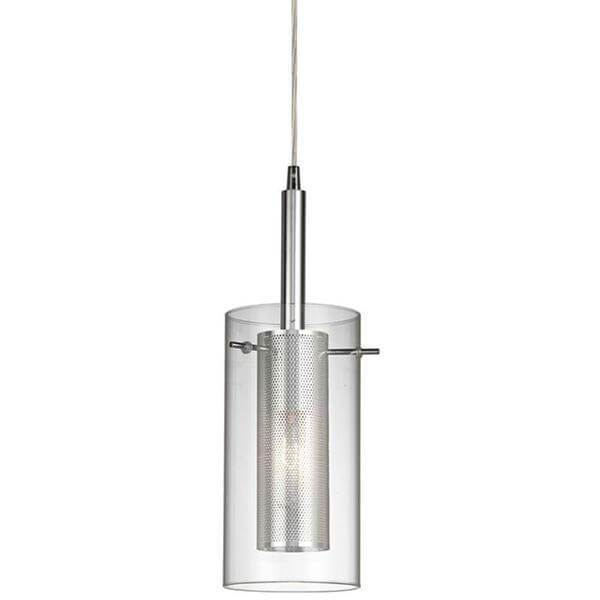 1-Light Chrome Pendant with Cylinder Inner Mesh Shade and Outer Clear Glass Shade Damaged Box-Lighting-Tool Mart Inc.
