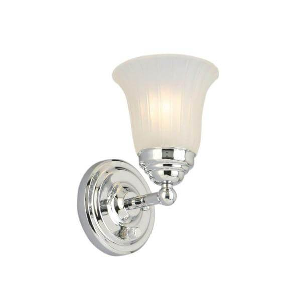 1-Light Chrome Sconce with Frosted Glass Shade Damaged Box-sconces & wall fixtures-Tool Mart Inc.