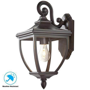 1-Light Oil-Rubbed Bronze Outdoor 8 in. Wall Mount Lantern with Clear Glass Damaged Box-outdoor lighting-Tool Mart Inc.