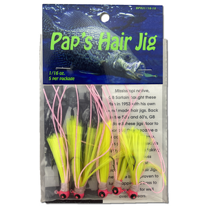 1/16 oz. Pap's Hair Jig 5 Pack - Pink Head/Yellow Tail
