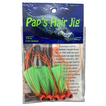 1/8 oz. Pap's Hair Jig 5 Pack - Orange Head/Green Tail