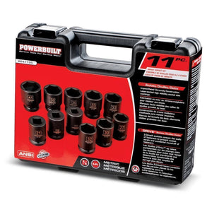 11 Piece Impact Metric Socket Set Powerbuilt-ratchets, sockets, & adapters-Tool Mart Inc.