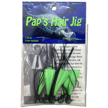 1/8 oz. Pap's Hair Jig 5 Pack - Black Head/Green Tail