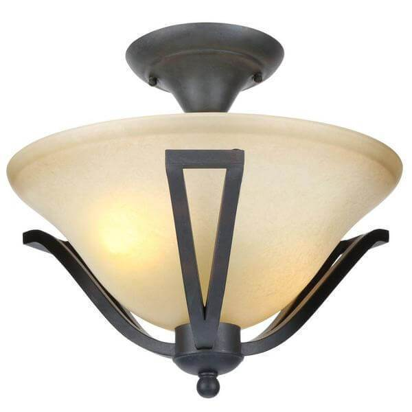 13 in. 2-Light Rustic Iron Semi-Flush Mount with Antique Ivory Glass Shade Damaged Box-bay & strip lights-Tool Mart Inc.