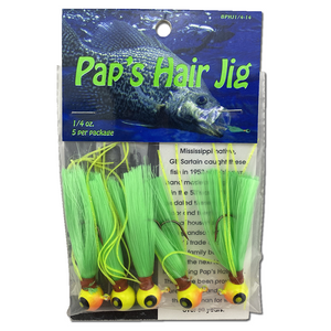 1/4 oz. Pap's Hair Jig 5 Pack - Orange/Yellow Head/Green Tail