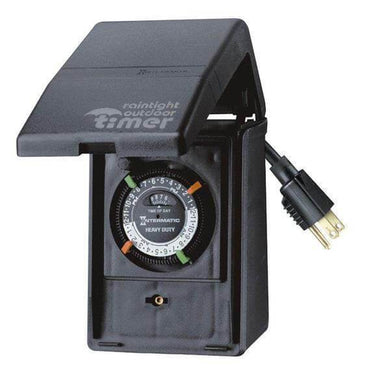 15 Amp 24-Hour Outdoor Plug-In Heavy Duty Timer, Black Damaged Box-controllers, timers, & transformers-Tool Mart Inc.