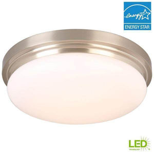 15 in. 225-Watt Equivalent Brushed Nickel Integrated LED Flush Mount with Frosted Glass Shade Damaged Box-bay & strip lights-Tool Mart Inc.