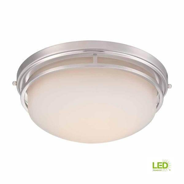 15 in. Satin Nickel LED Flush Mount with Frosted Glass Damaged Box-bay & strip lights-Tool Mart Inc.