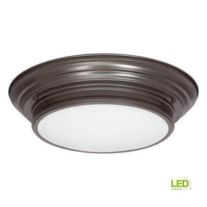 15.25 in. Boundless Collection 17-Watt Antique Bronze Integrated LED Flush Mount Damaged Box-bay & strip lights-Tool Mart Inc.