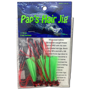1/16 oz. Pap's Hair Jig 5 Pack - Red Head/Green Tail