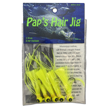 1 8 oz Paps Hair Jig 5 Pack Yellow Head Yellow Tail