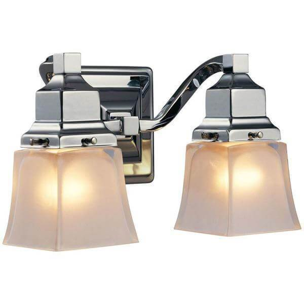 2-Light Chrome Vanity Light with Etched Glass Shades Damaged Box-vanity lights-Tool Mart Inc.