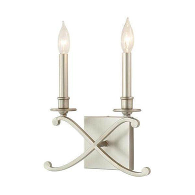 2-Light Criss Cross Antique Silver Leaf Sconce Damaged Box-sconces & wall fixtures-Tool Mart Inc.