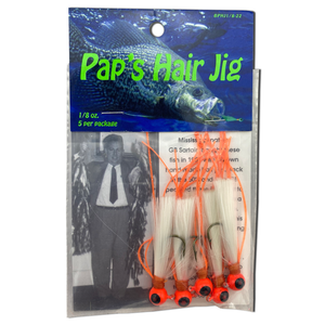 1/8 oz. Pap's Hair Jig 5 Pack - Orange Head/White Tail
