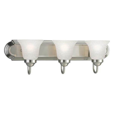 24 in. 3-Light Brushed Nickel Bathroom Vanity Light with Glass Shades Damaged Box-vanity lights-Tool Mart Inc.